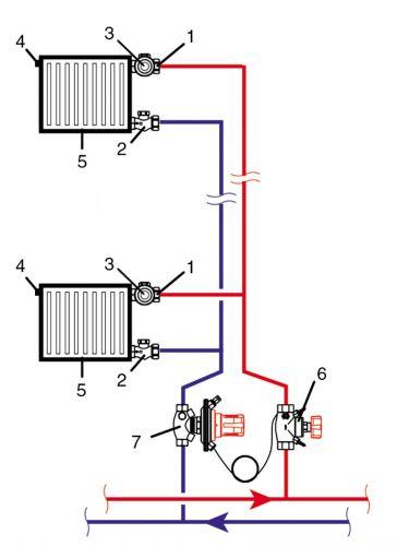Схема отопления с воздухоотводчиком