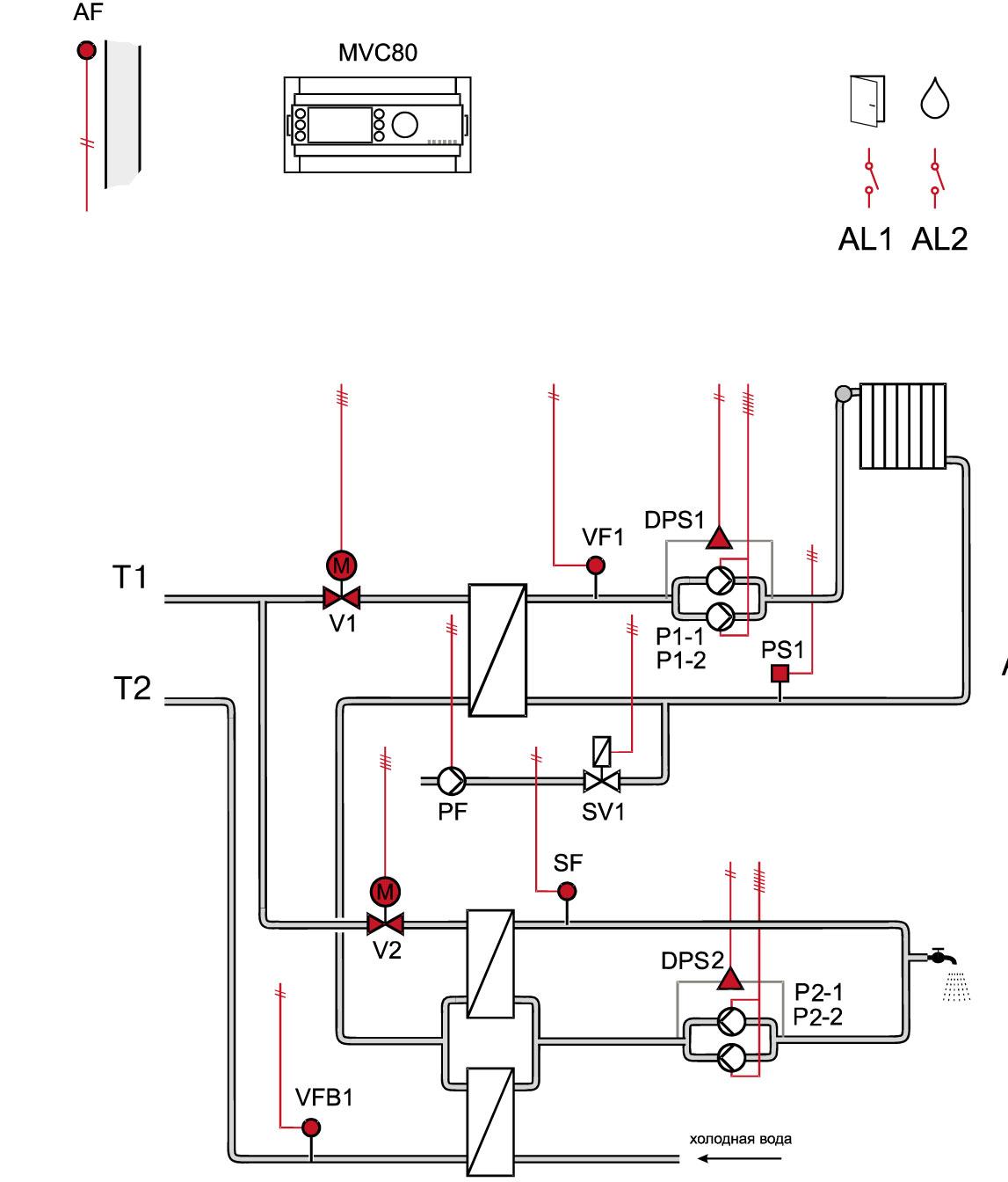 зависимый тепловой автоматический тепловой узел схема