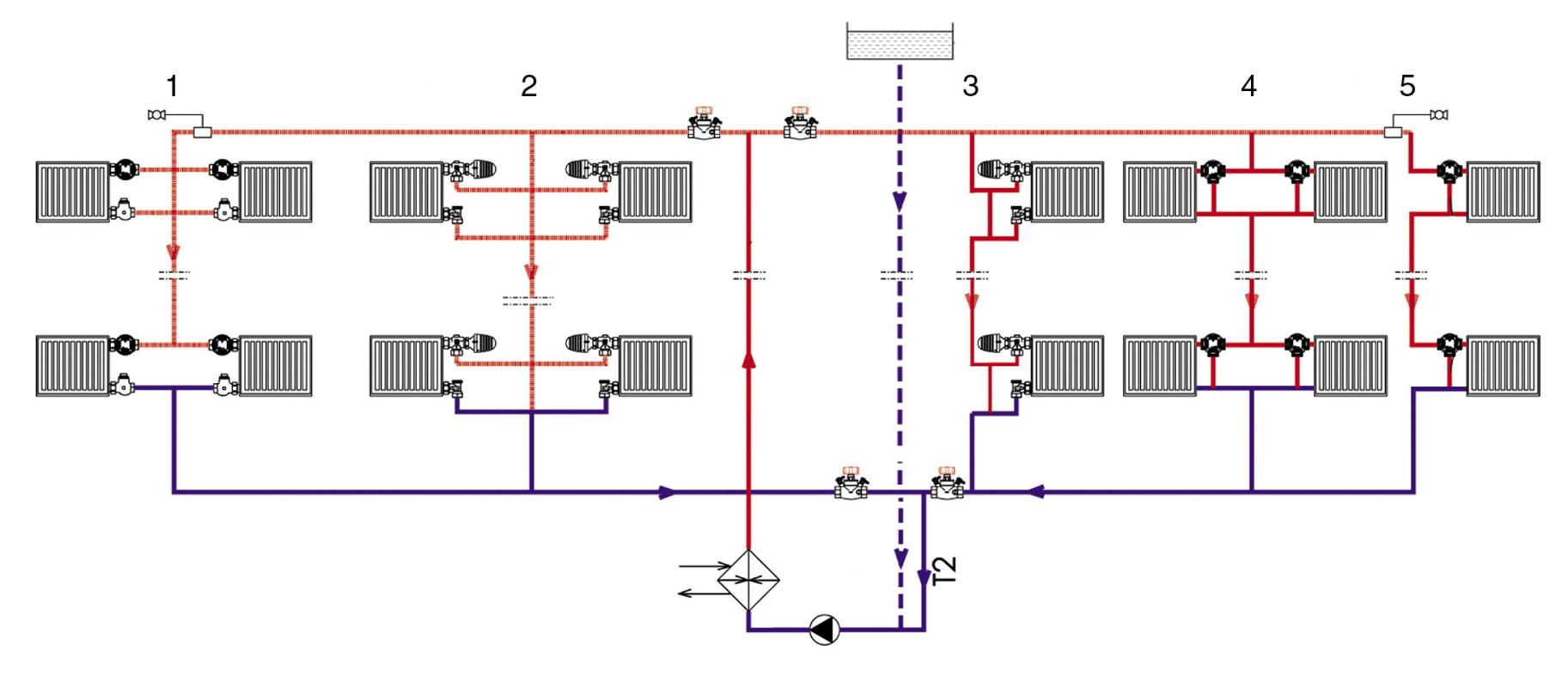 схема подключение батареи отопления с одним стояком