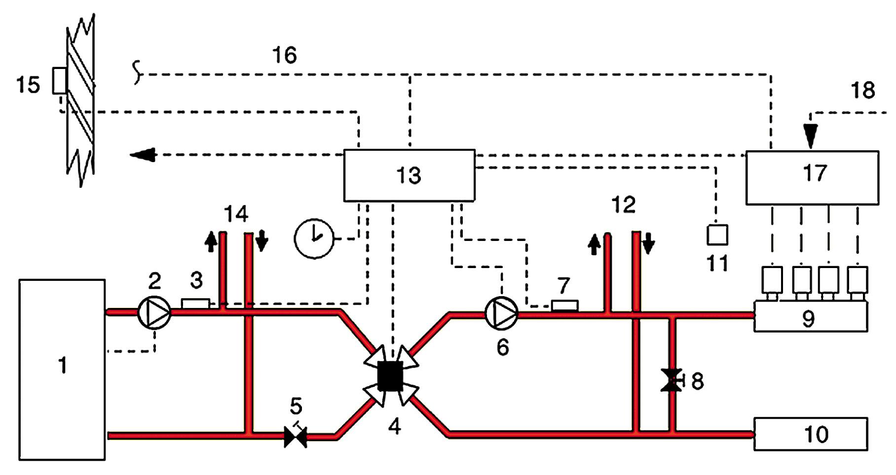 схема подключения коллектора на тёплый пол